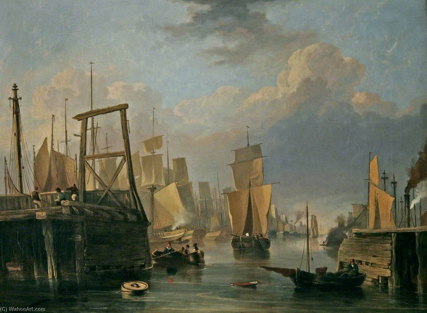 The Removal of Old Yarmouth Bridge, Norfolk, 1837 by John Berney Crome (1768-1821) | Oil Painting | ArtsDot.com