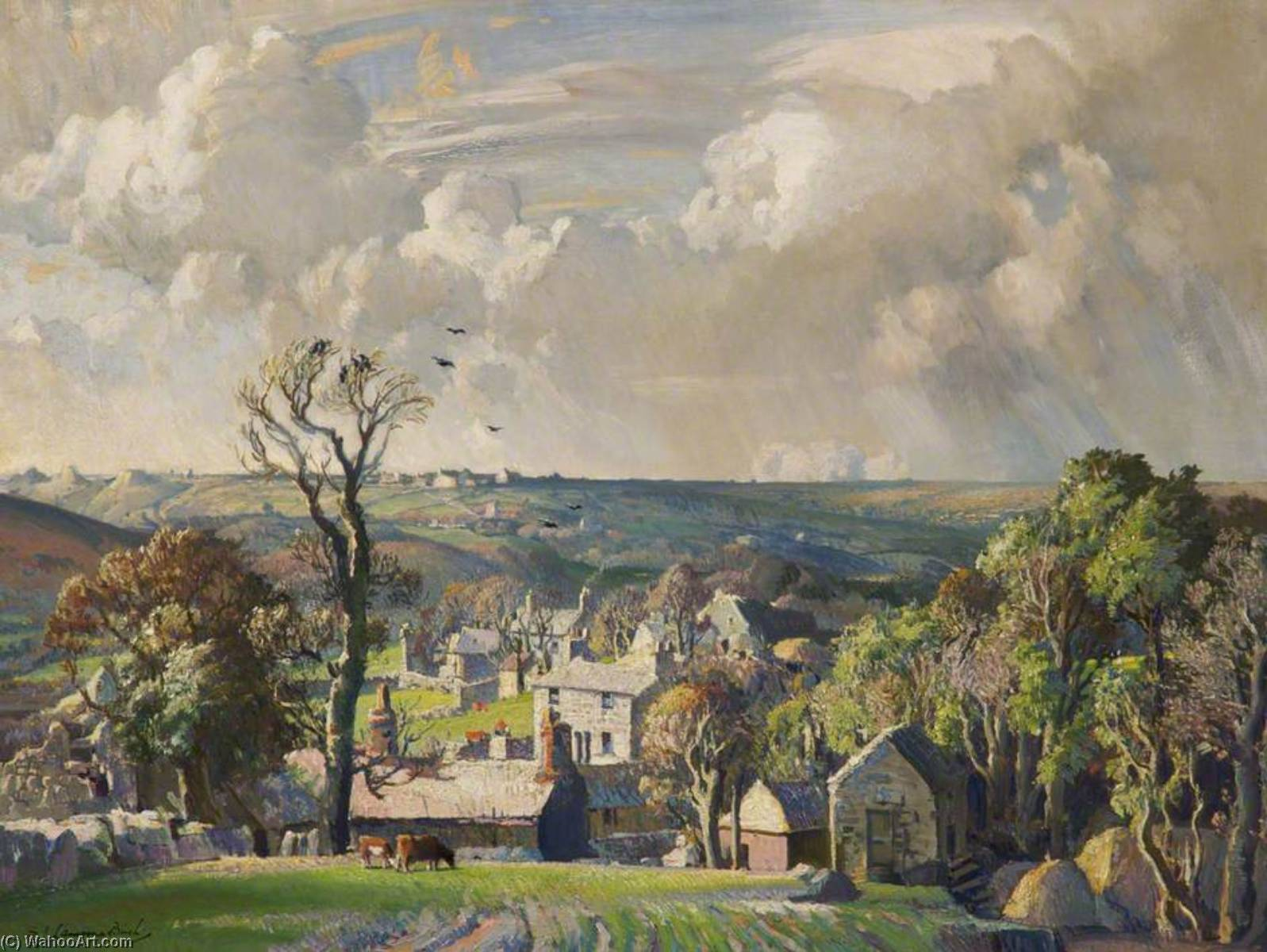 Nancledra Old Cornish Village, 1931 by Samuel John Lamorna Birch (1869-1955, United Kingdom) | Painting Copy | ArtsDot.com