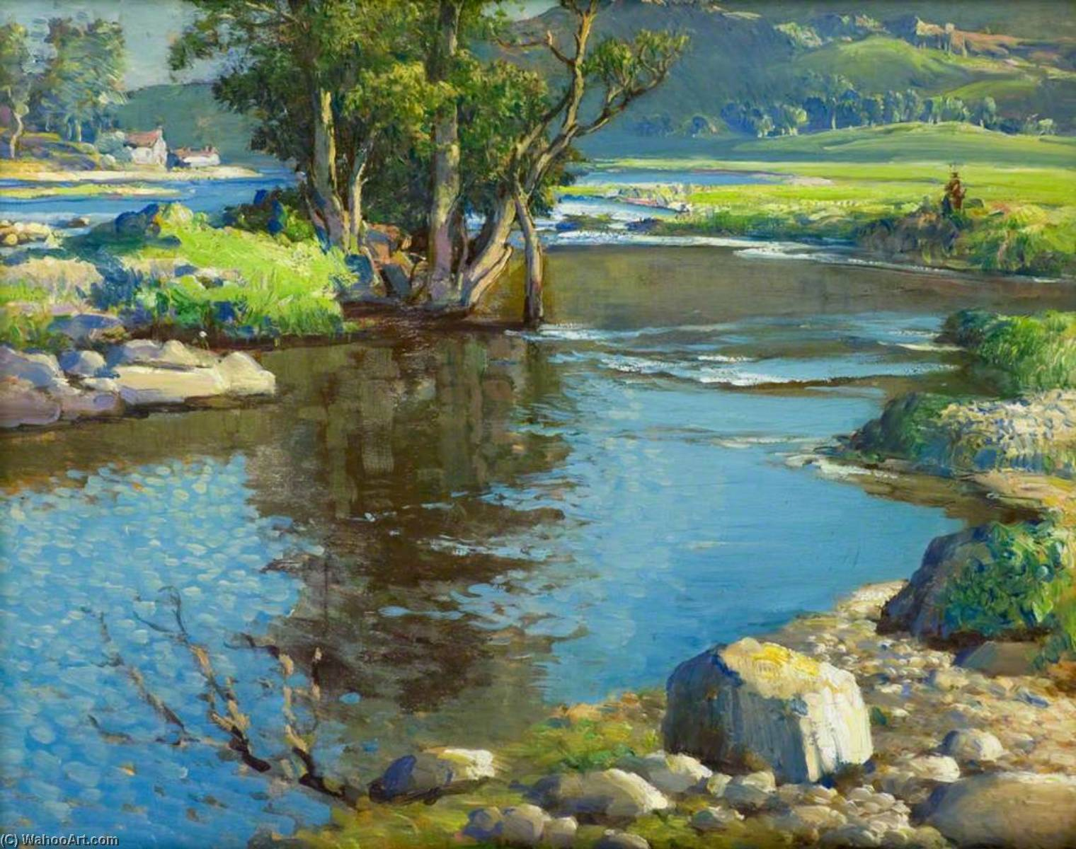 A Blue Day on Deveron`s Banks by Samuel John Lamorna Birch (1869-1955, United Kingdom) | Museum Quality Reproductions | ArtsDot.com