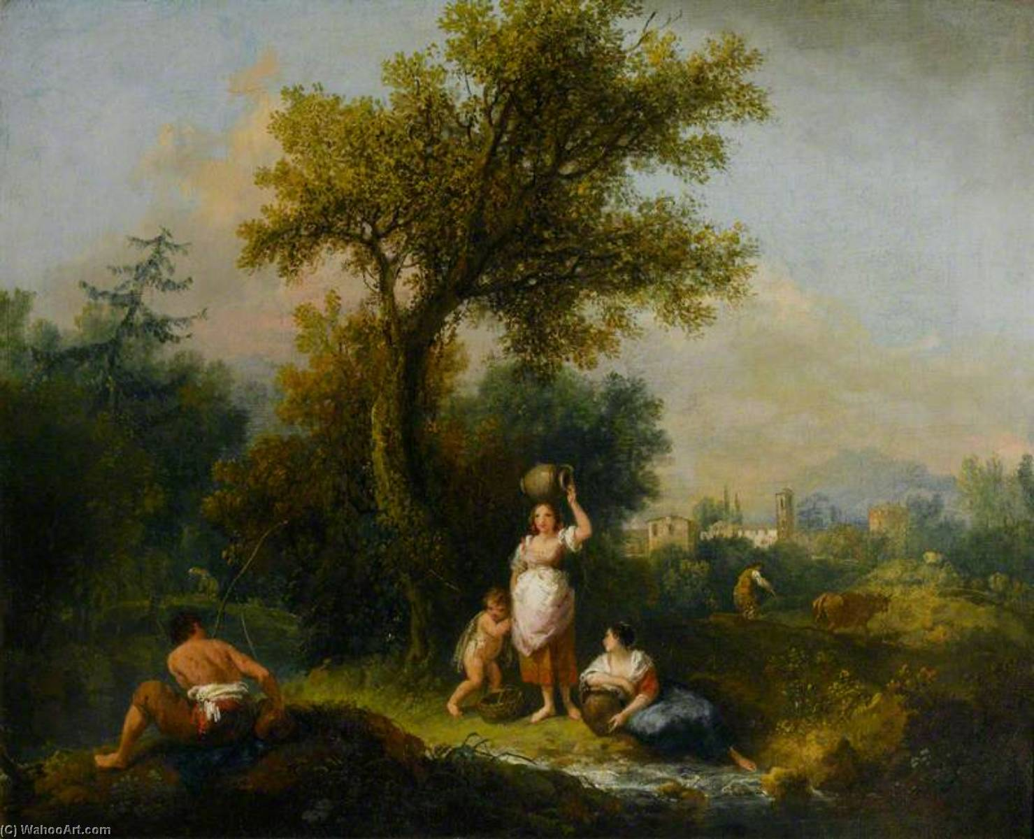 A Landscape by Francesco Zuccarelli (1702-1788, Italy) | Oil Painting | ArtsDot.com