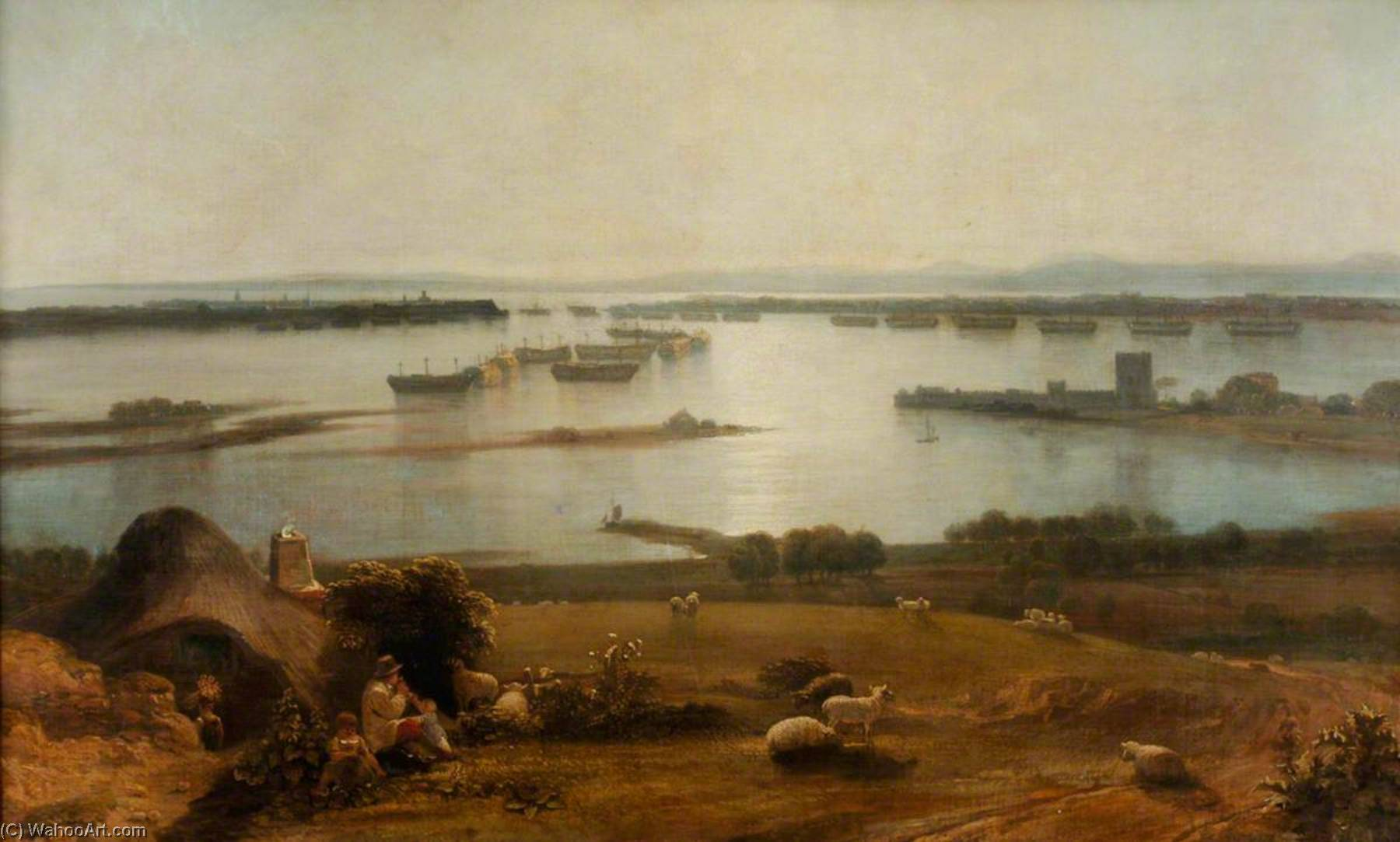 Hulks in Portsmouth Harbour, 1830 by Thomas Christopher Hofland (1777-1843) | Museum Art Reproductions | ArtsDot.com