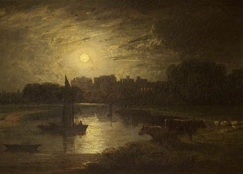 Windsor and Eton from Clewer Meadows by Moonlight, 1820 by Thomas Christopher Hofland (1777-1843) | Painting Copy | ArtsDot.com