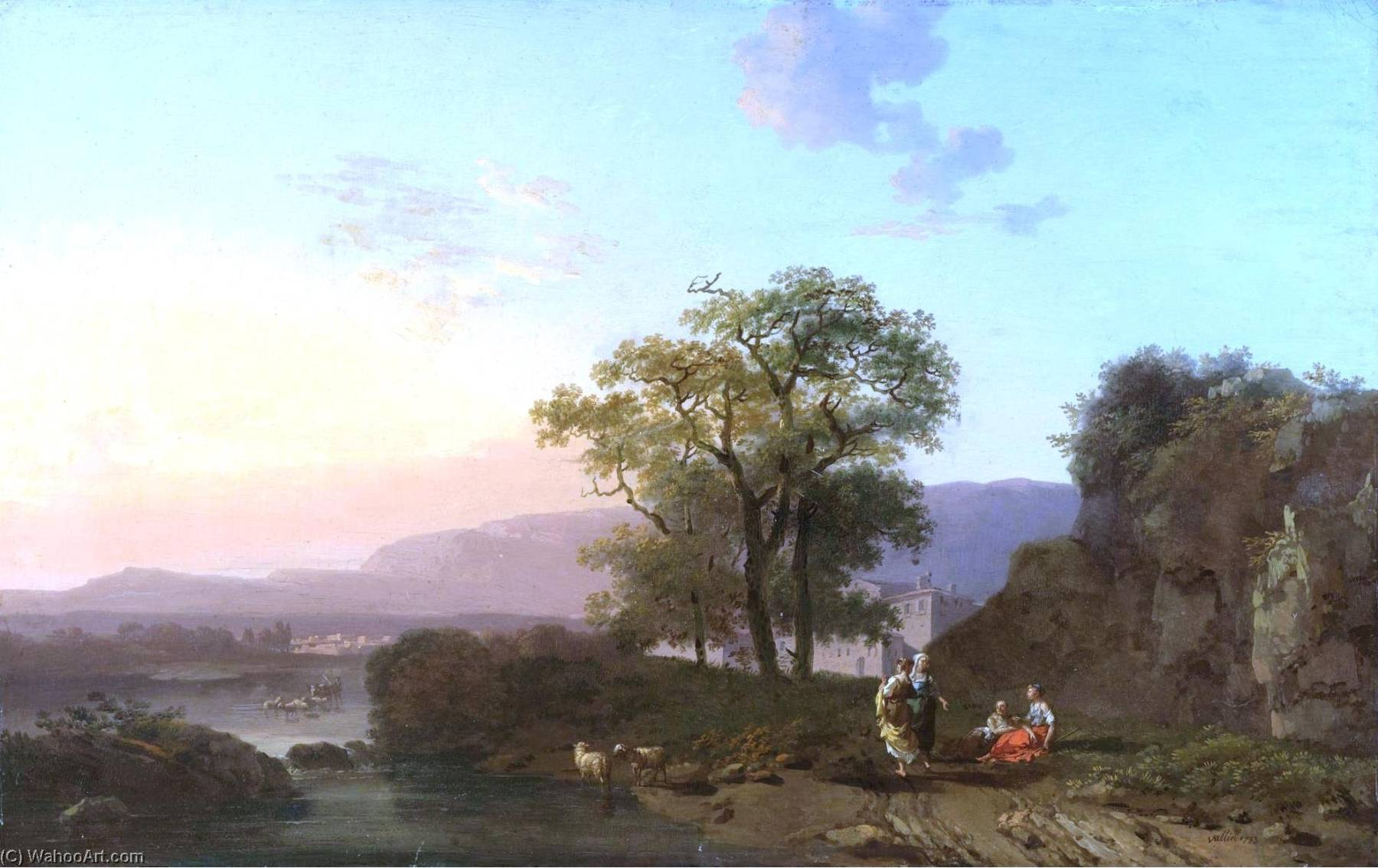 An Italianate Landscape at Sunset with Sheperdesses Resting in the Foreground, 1793 by Jacques Antoine Vallin | Painting Copy | ArtsDot.com