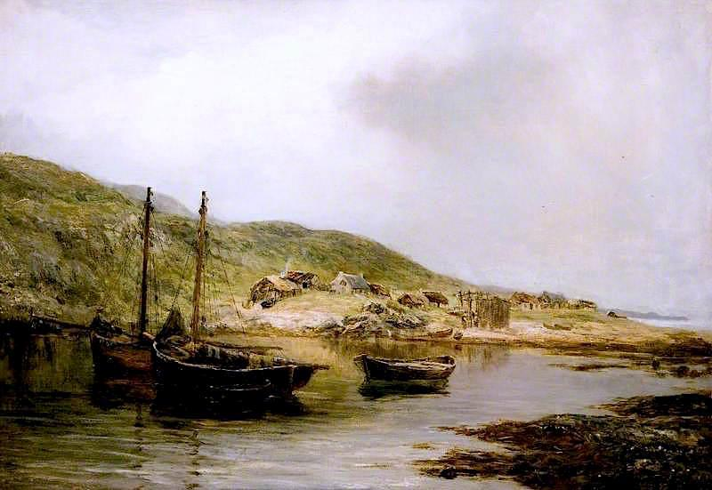 A Fishing Village, Skye, 1873 by James Docharty | Museum Quality Reproductions | ArtsDot.com
