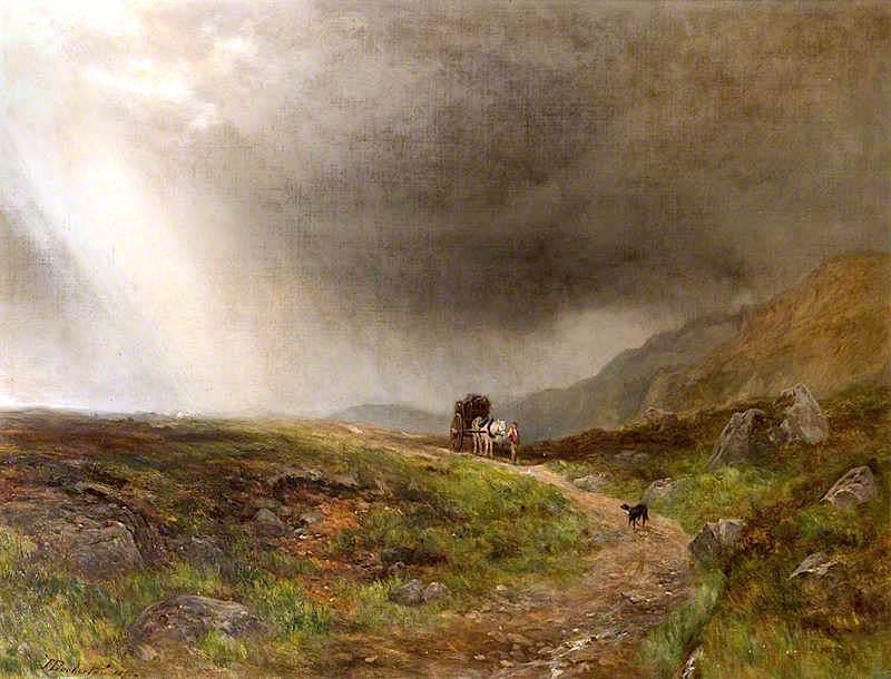 A Man with a Horse and Cart and a Dog on a Moor, 1857 by James Docharty | Art Reproduction | ArtsDot.com