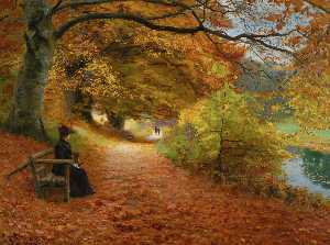 Hans Andersen Brendekilde - Wooded Path in Autumn