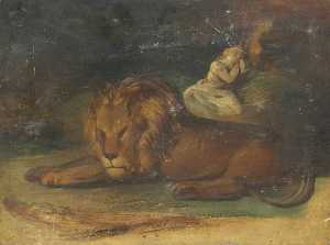 George Sheffield Senior - Lion and a Female Figure