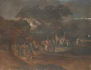George Sheffield Senior - Soldiers and Horses in a ..