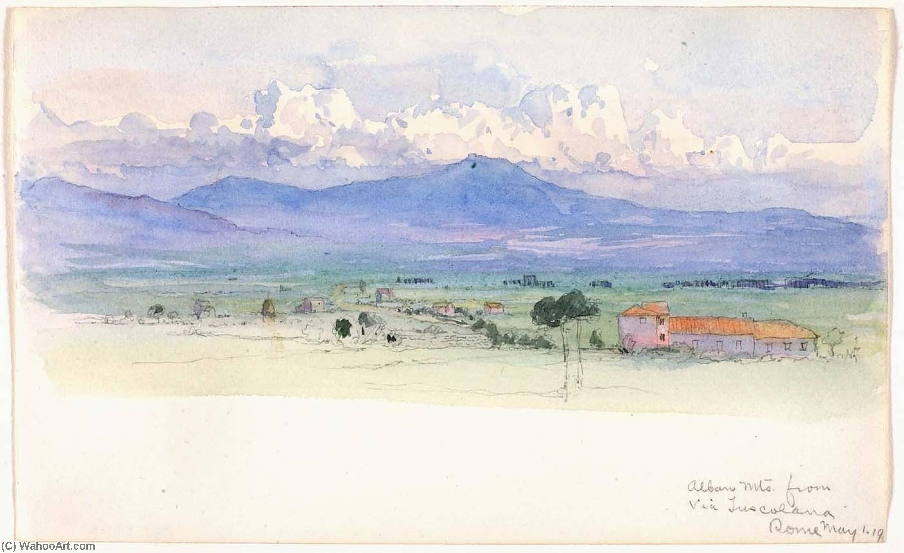 Alban Mountains from Via Tuscolana, Rome, 1900 by George Elbert Burr | Museum Art Reproductions | ArtsDot.com