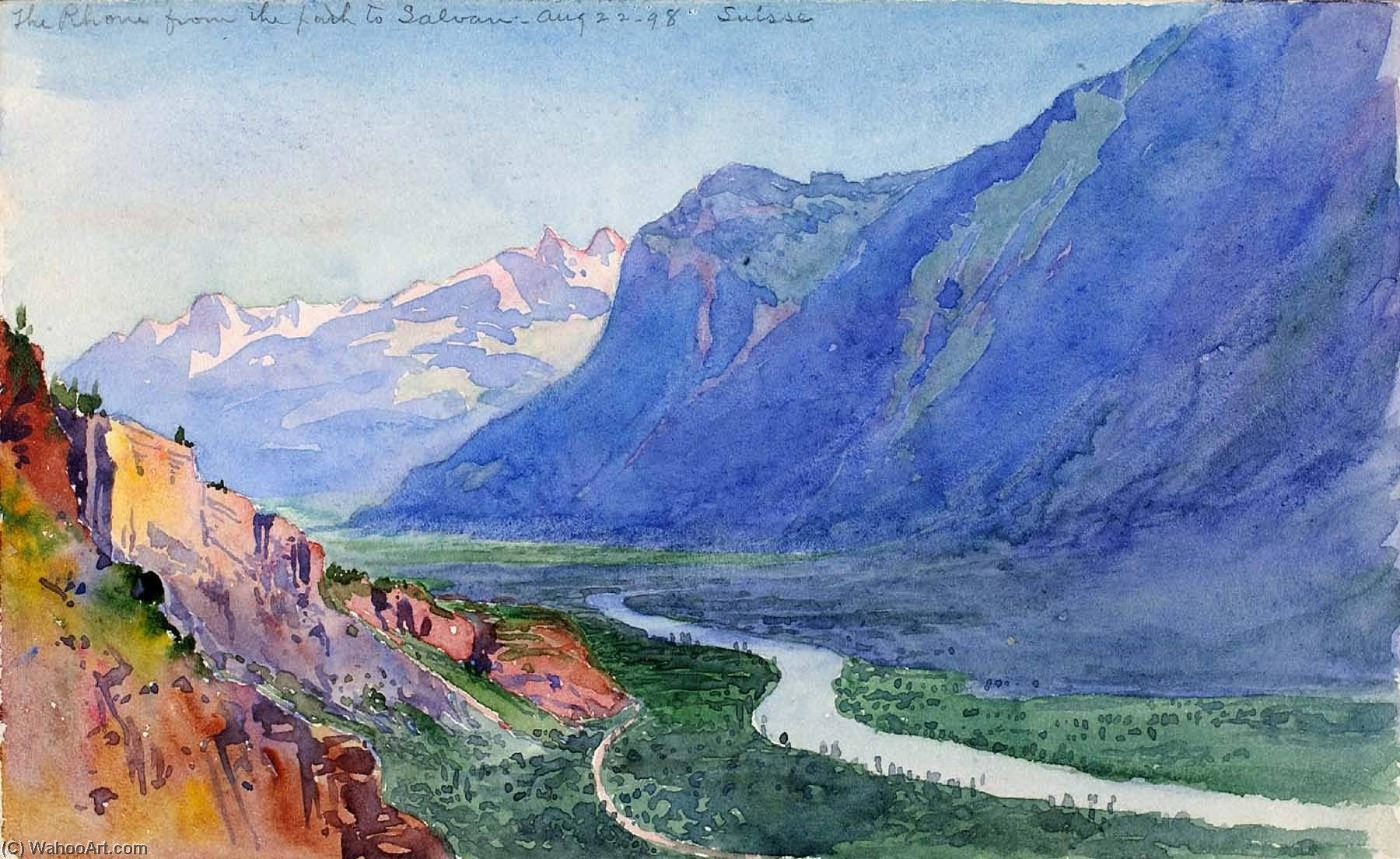The Rhone from the Path to Salvari (Switzerland), 1898 by George Elbert Burr | Art Reproduction | ArtsDot.com