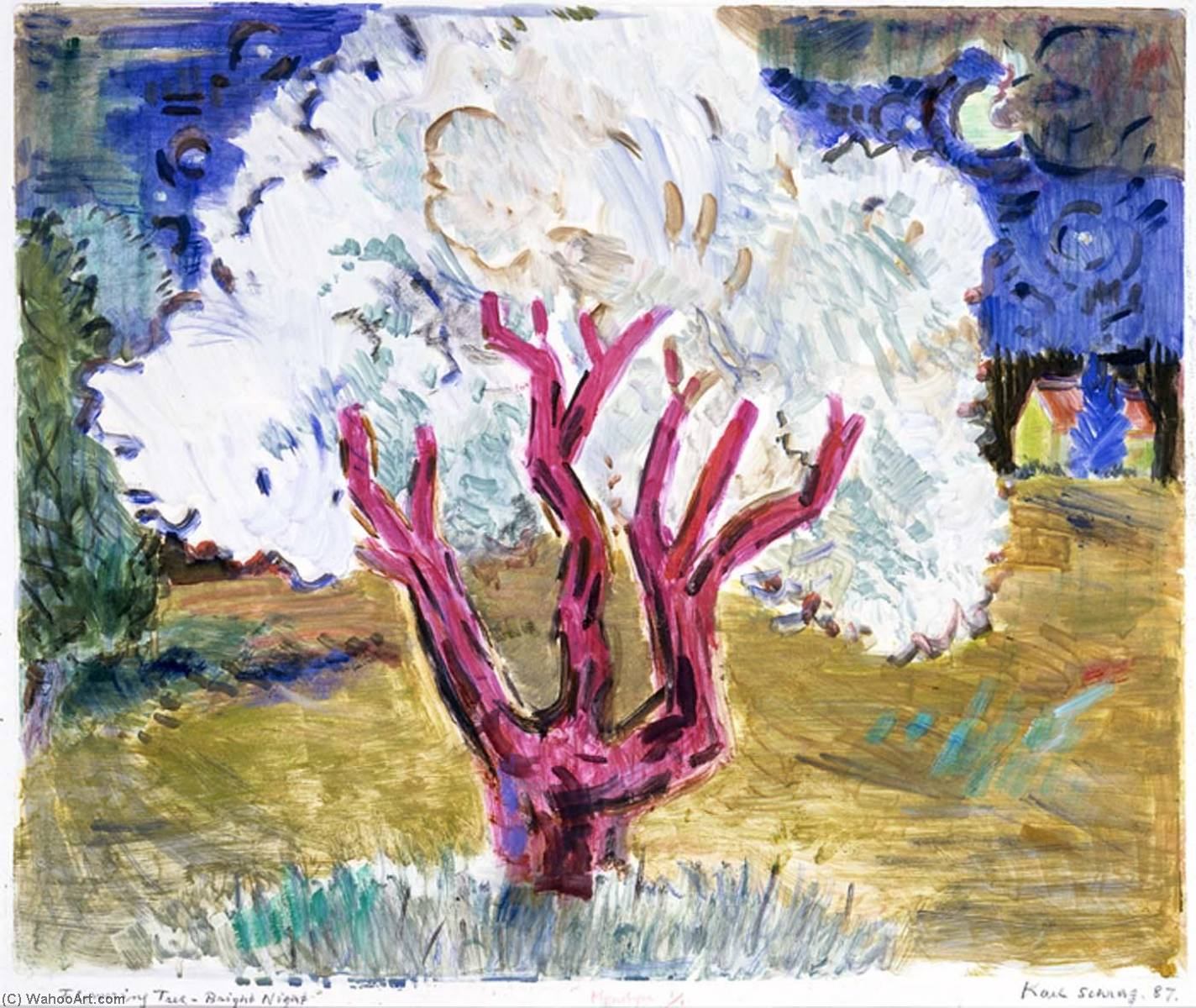 Flowering Tree Bright Night, 1987 by Karl Schrag (1912-1995) | Museum Quality Reproductions | ArtsDot.com