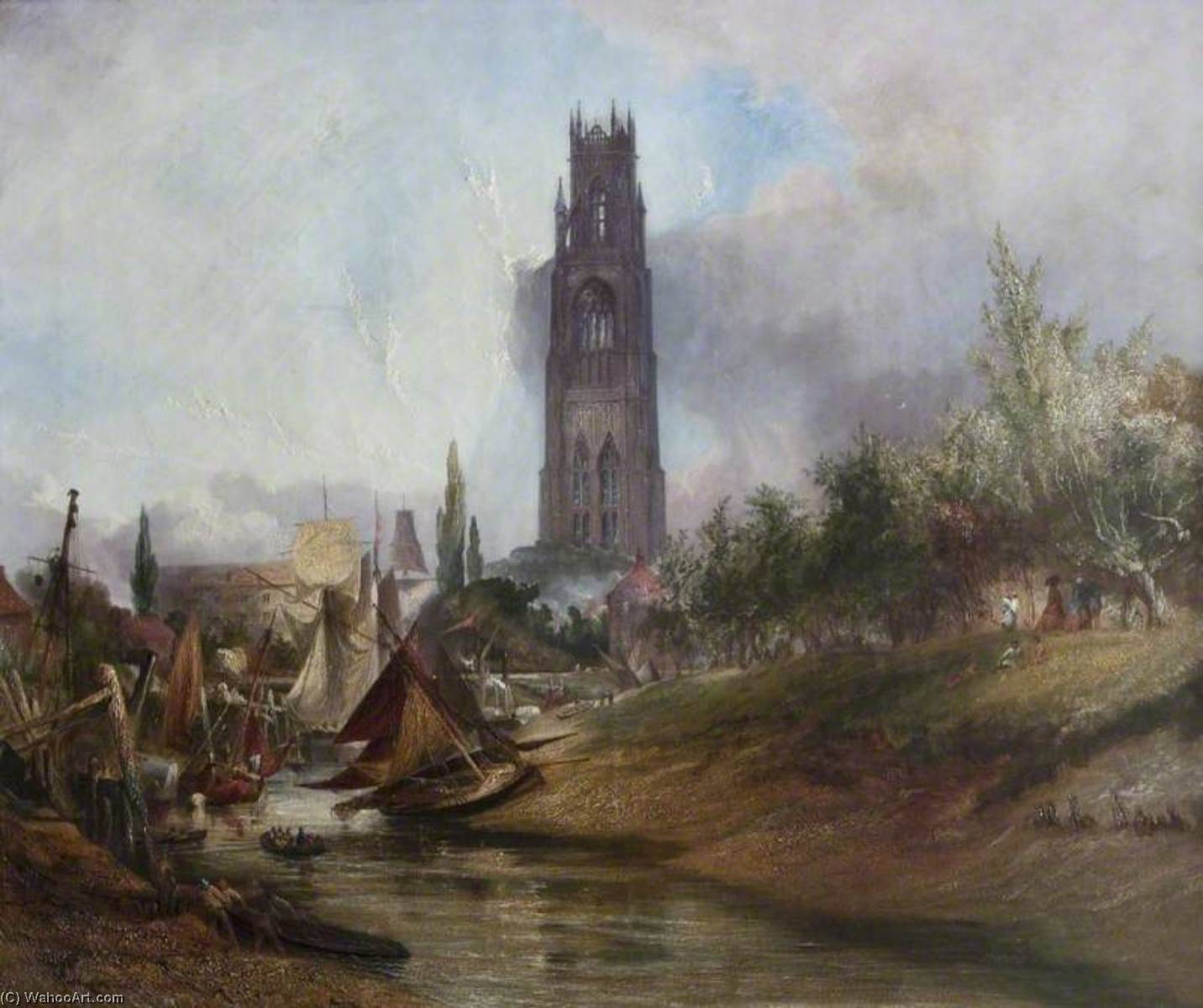 St Botolph`s from the Witham, Boston, Lincolnshire, 1857 by Henry Baines | Museum Quality Reproductions | ArtsDot.com