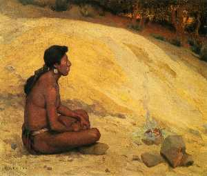 Eanger Irving Couse - Indian Seated by a Campfi..
