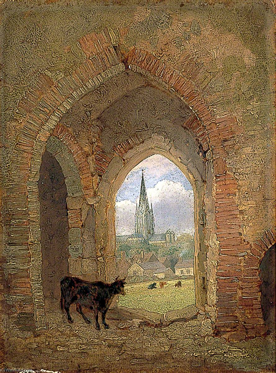 View through the Archway of the Cow Tower, Norwich, Showing the Dean Meadow, 1840 by Henry Ninham | Museum Quality Reproductions | ArtsDot.com
