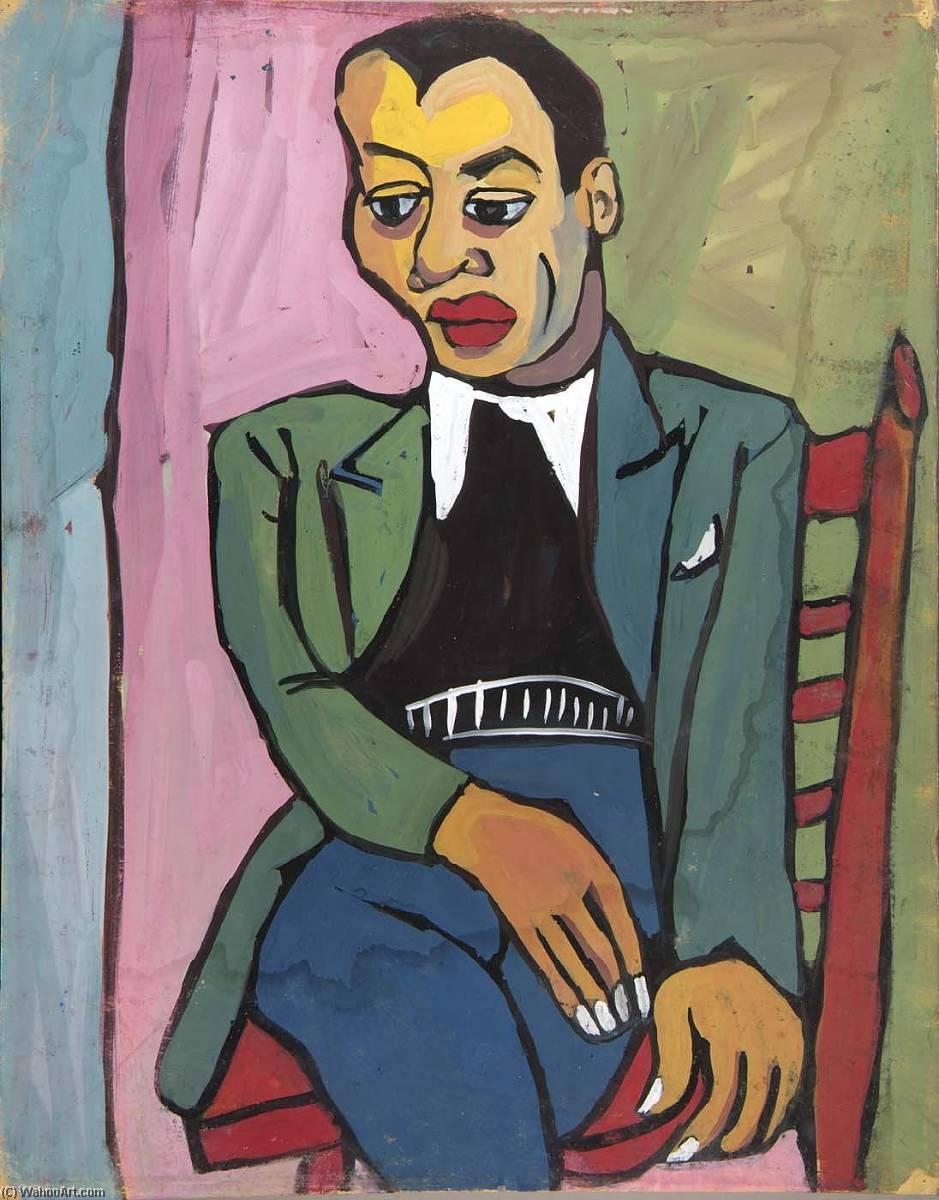 Man in a Red Chair, 1940 by William Henry Johnson (1901-1970, United States) | Art Reproduction | ArtsDot.com