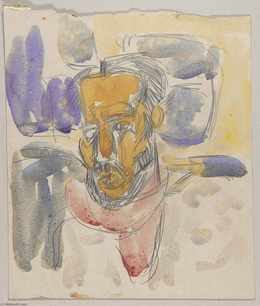 Head of Bearded Man with White Hair, 1935 by William Henry Johnson (1901-1970, United States) | Museum Quality Reproductions | ArtsDot.com
