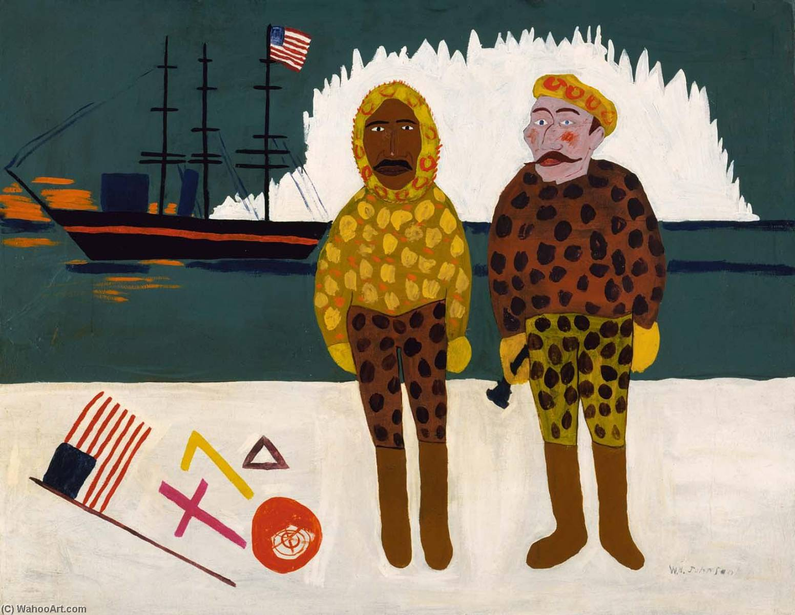 Commodore Peary and Henson at the North Pole, 1945 by William Henry Johnson (1901-1970, United States) | Oil Painting | ArtsDot.com
