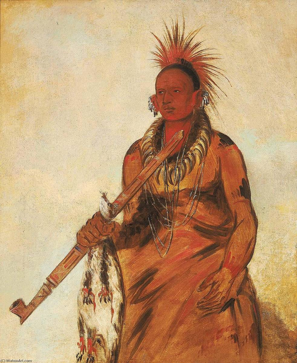 No o mún nee, Walks in the Rain, a Warrior, 1832 by George Catlin (1796-1872, United States) | Museum Quality Reproductions | ArtsDot.com