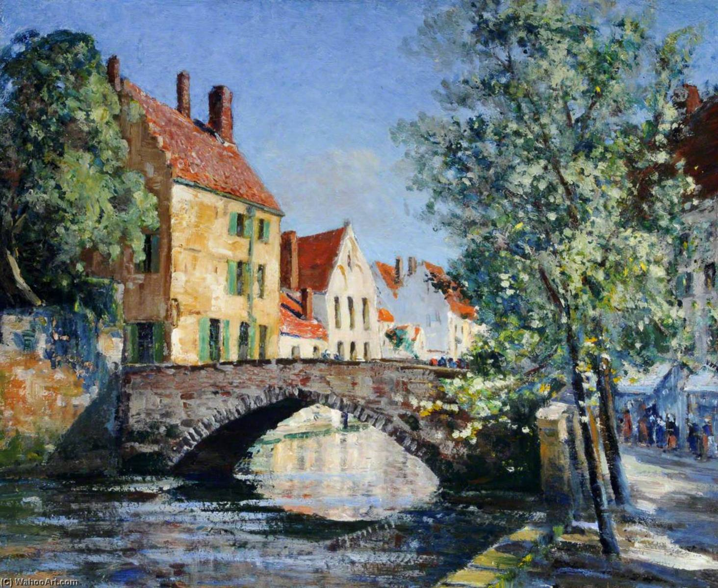 Bridge over a Canal, Bruges by Francis William Synge Le Maistre | Oil Painting | ArtsDot.com
