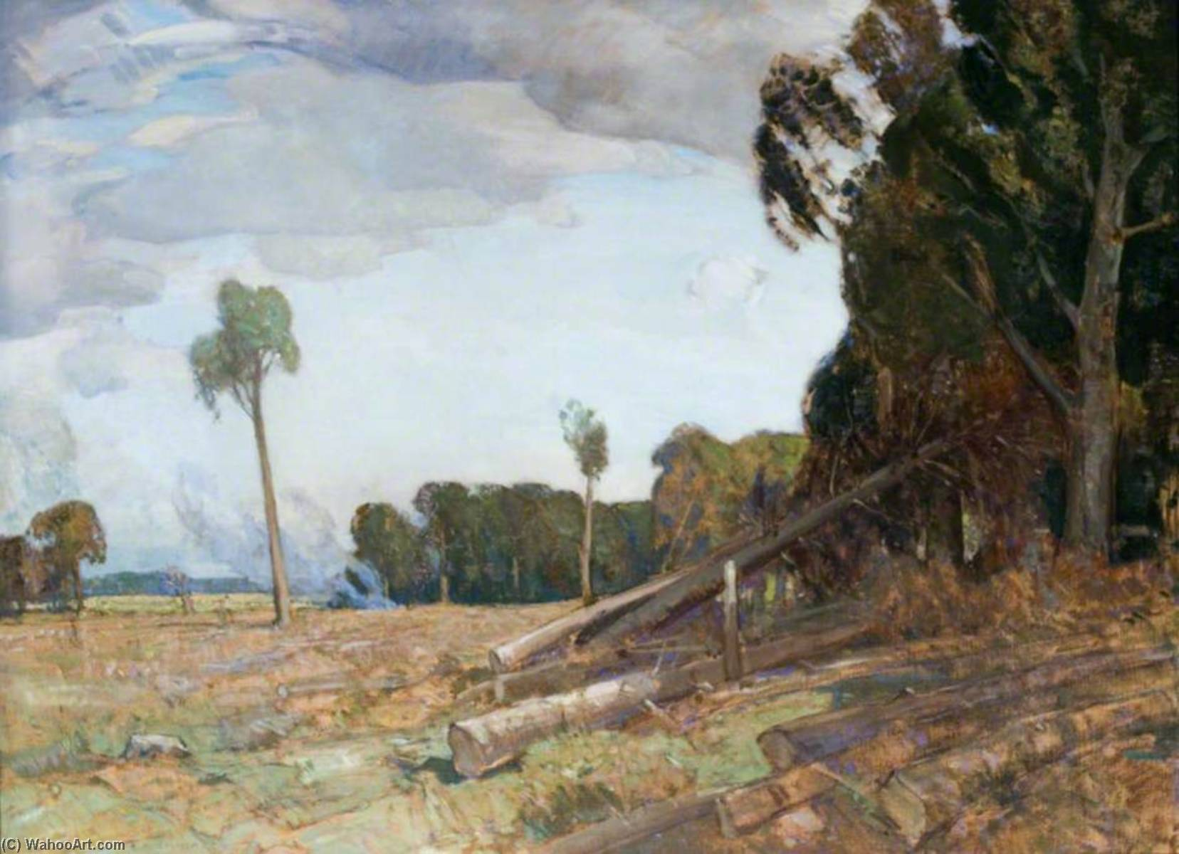 Felling Timber, Cally by Alick Riddell Sturrock | Painting Copy | ArtsDot.com