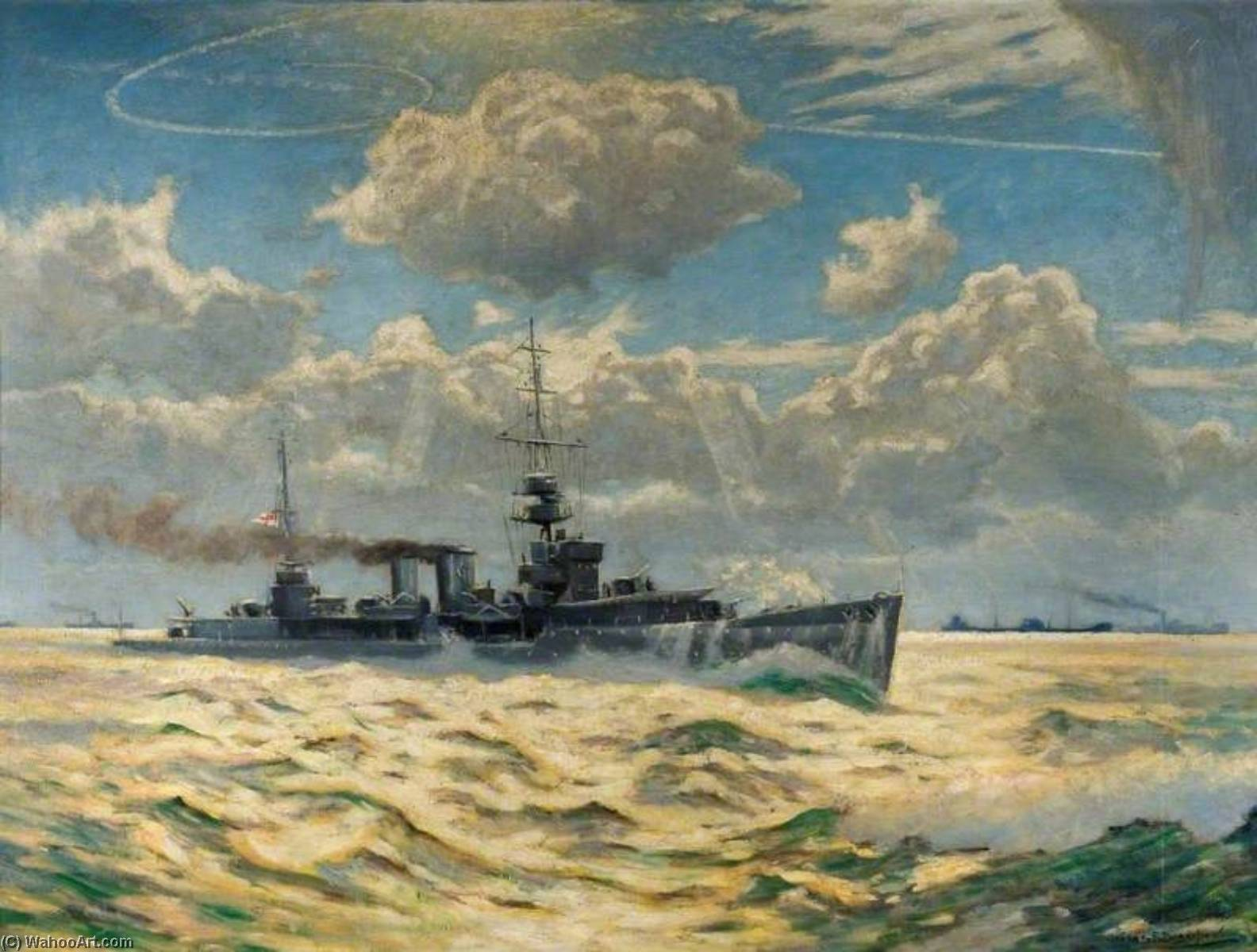 HMS `Delhi`, 1942 by George Fagan Bradshaw | Painting Copy | ArtsDot.com
