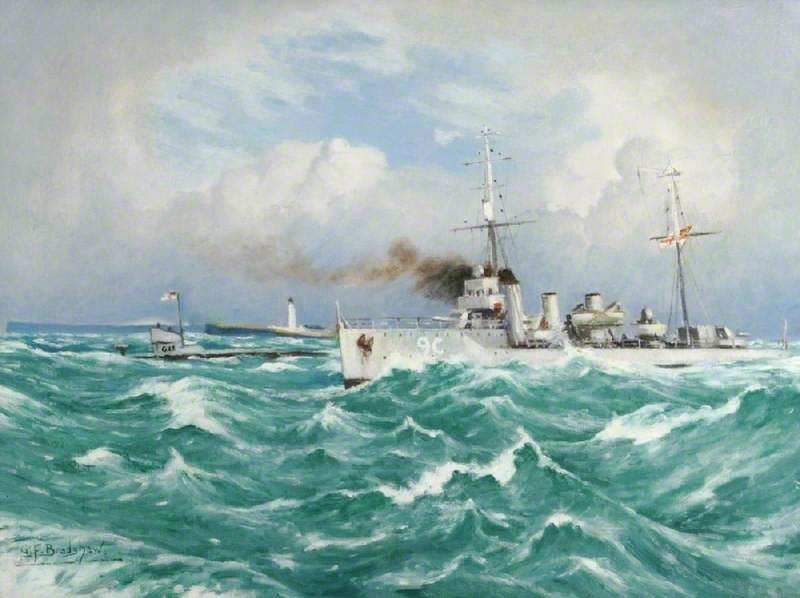 Submarine and Escort by George Fagan Bradshaw | Museum Art Reproductions | ArtsDot.com