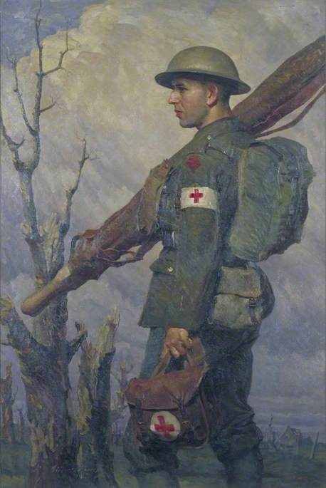 A Royal Army Medical Corps Stretcher Bearer, Fully Equipped, 1919 by Gilbert Rogers | Oil Painting | ArtsDot.com