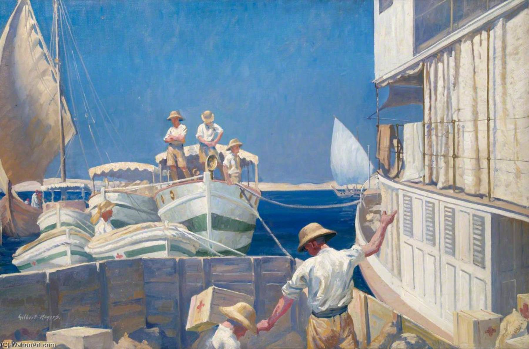 A British Red Cross Society and Order of St John of Jerusalem Hospital Ship and Barges on the Tigris, 1919 by Gilbert Rogers | Painting Copy | ArtsDot.com