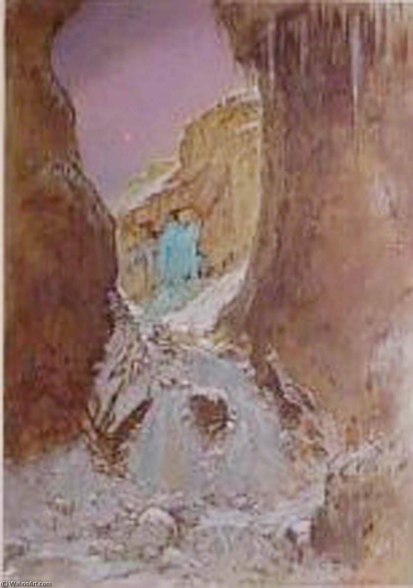 The Nymph of Gordale Scar with Gordale Scar Waterfall Frozen, 1927 by William Shackleton | Oil Painting | ArtsDot.com