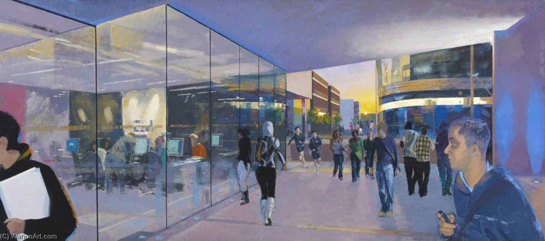 Central Concourse, Looking West, Twilight, 2007 by Alan Bennett | Oil Painting | ArtsDot.com
