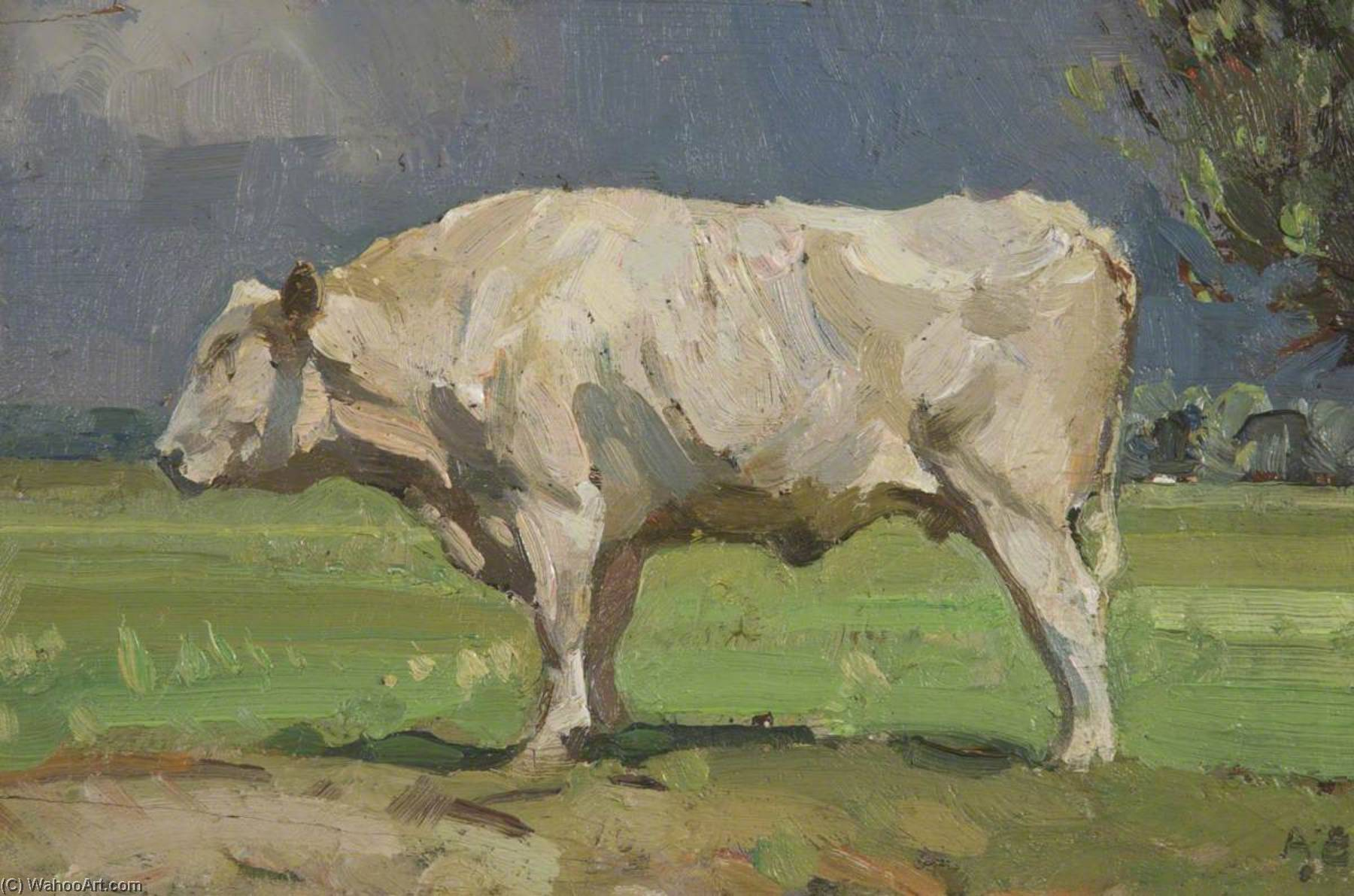 The White Bull by John Alfred Arnesby Brown (1867-1931) | Museum Art Reproductions | ArtsDot.com