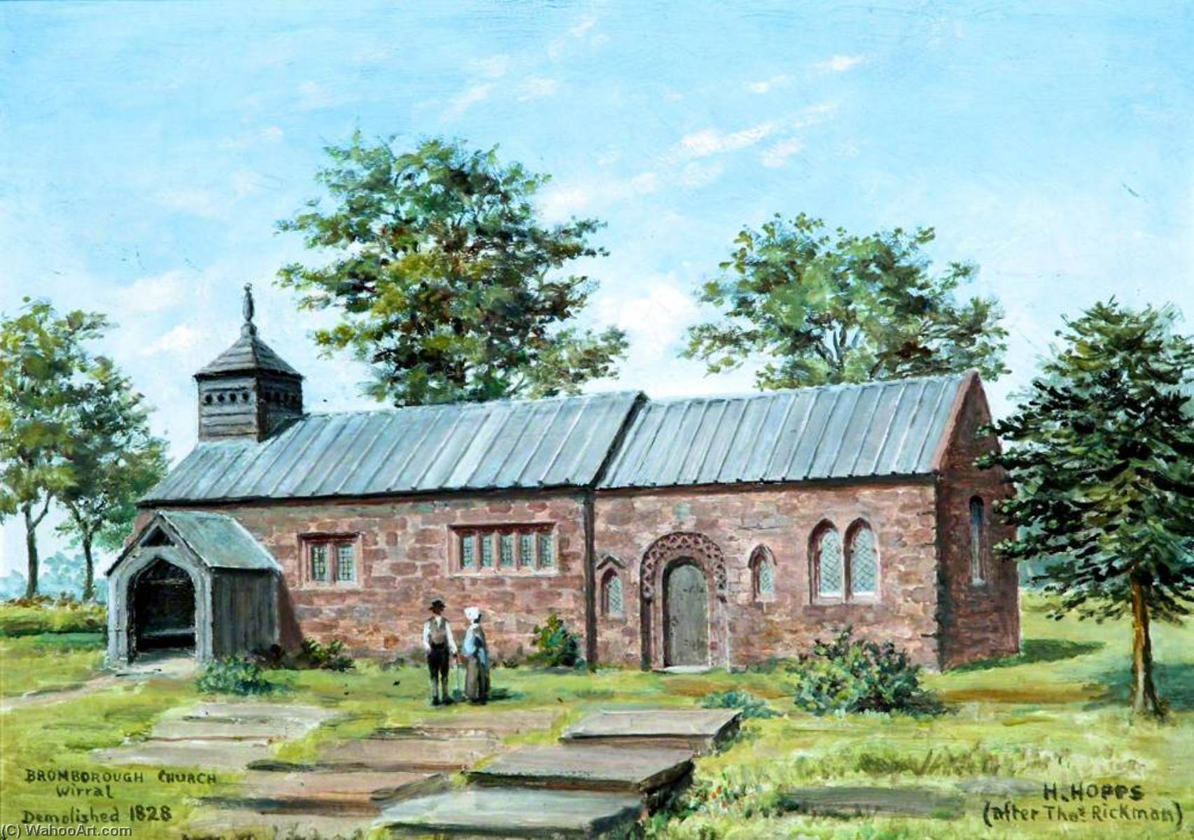Bromborough Church, Wirral by Harold Hopps | Oil Painting | ArtsDot.com