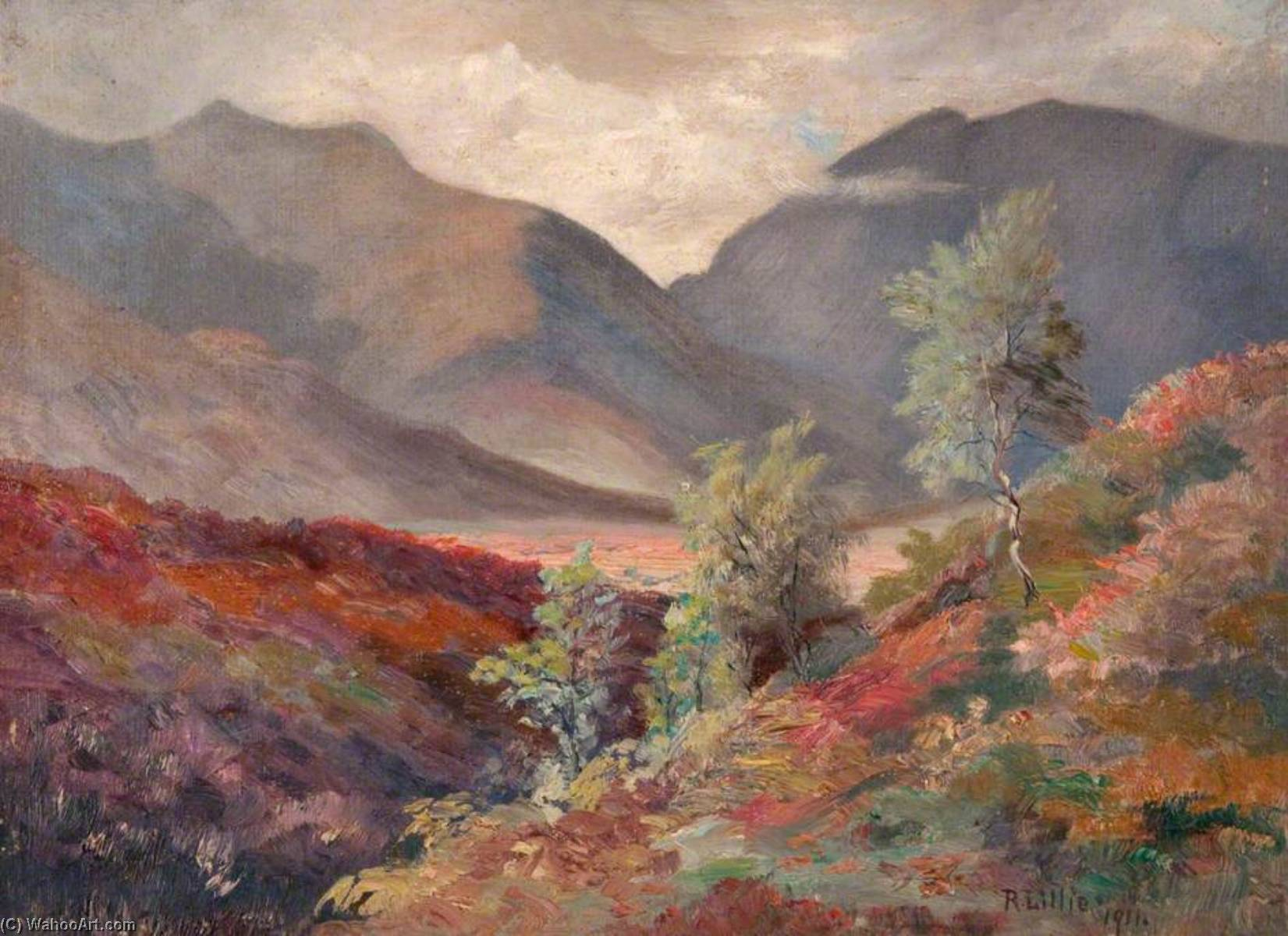 Looking across Glen Orchy, Dalmally, 1911 by Robert Lillie | Oil Painting | ArtsDot.com