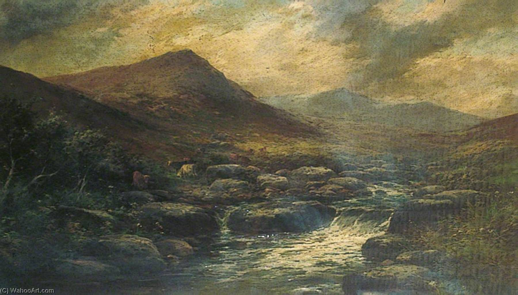 Mountain Landscape with Stream and Highland Cattle by George Henry Jenkins | Museum Art Reproductions | ArtsDot.com