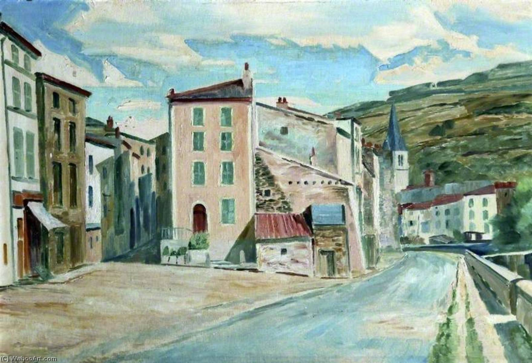 A Street in Issoire, France by Arthur Henry Andrews | Painting Copy | ArtsDot.com