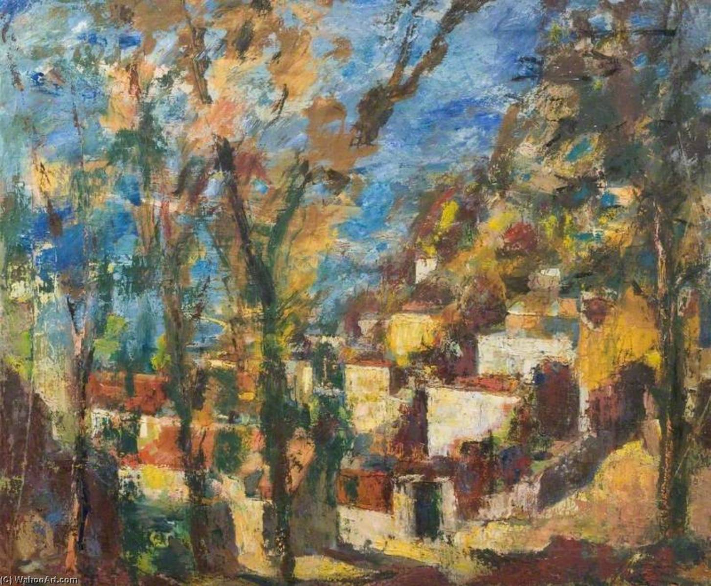 Houses on a Hillside by Theodor Kern | Painting Copy | ArtsDot.com