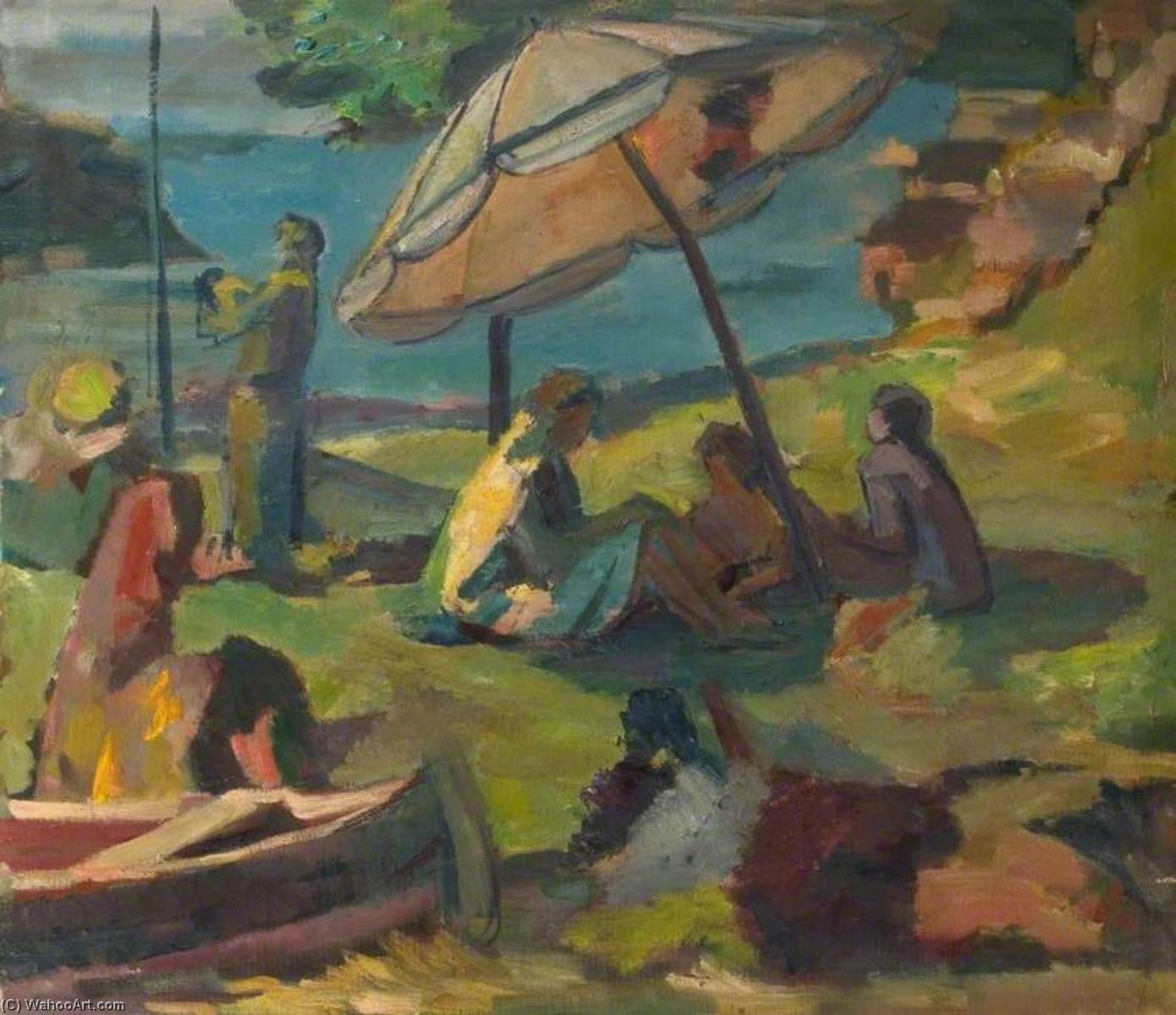 Beach Scene with a Sunshade by Theodor Kern | Museum Art Reproductions | ArtsDot.com