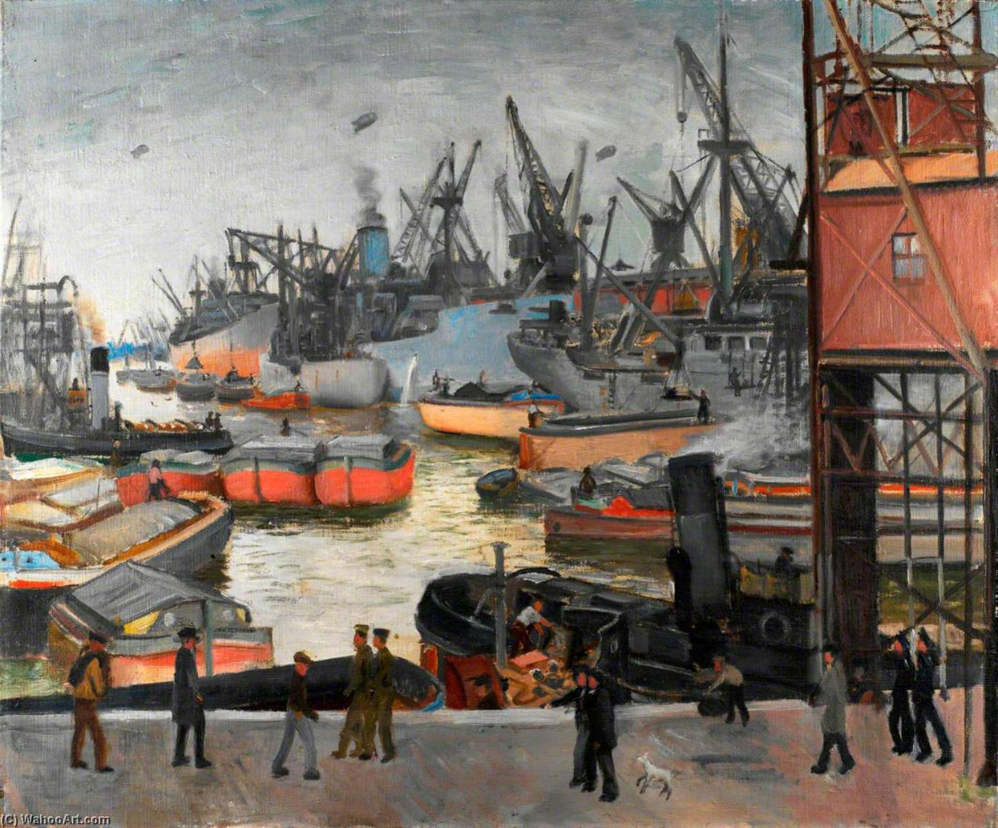 Activity at a Hull Dock, 1943 by Bernard Hailstone | Oil Painting | ArtsDot.com