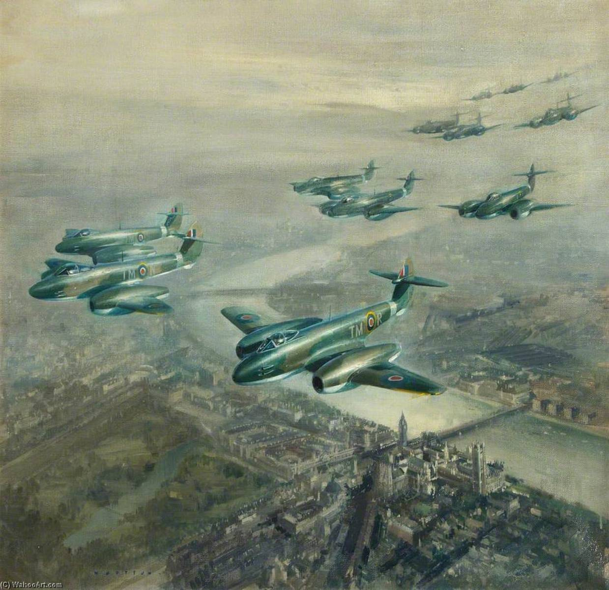 Meteor Mk 1s in Fly Past over Central London, 1945 by Frank Wootton | Painting Copy | ArtsDot.com