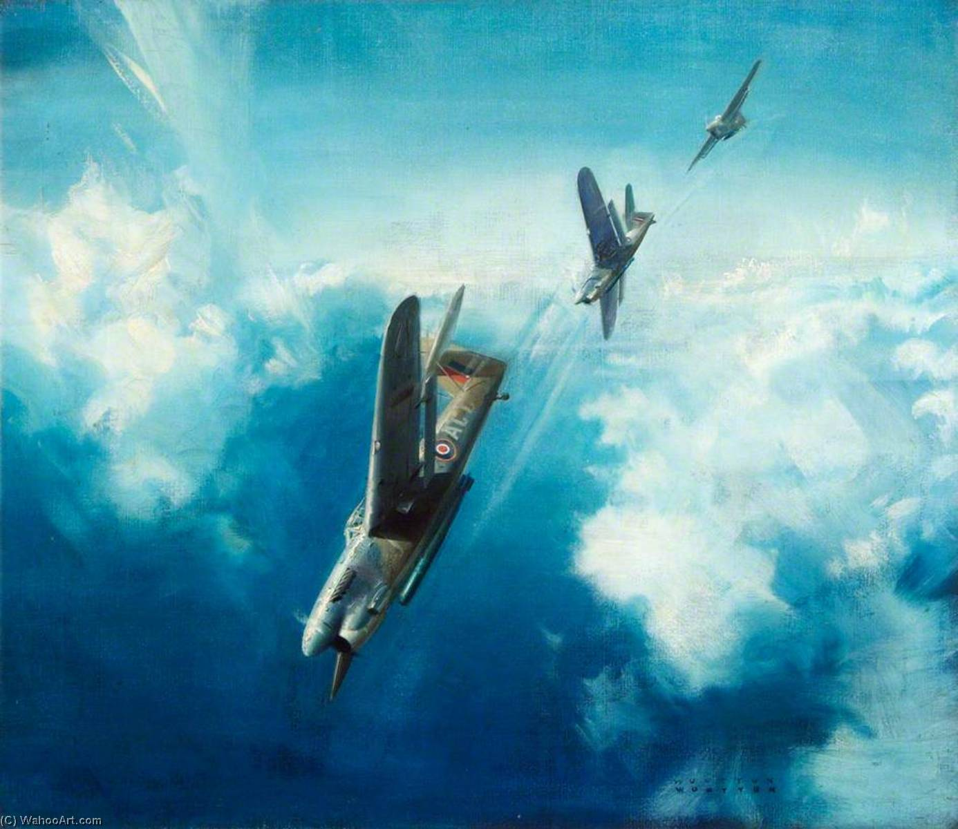 They Stoop to Conquer Three Barracudas Diving in Formation, 1945 by Frank Wootton | Painting Copy | ArtsDot.com