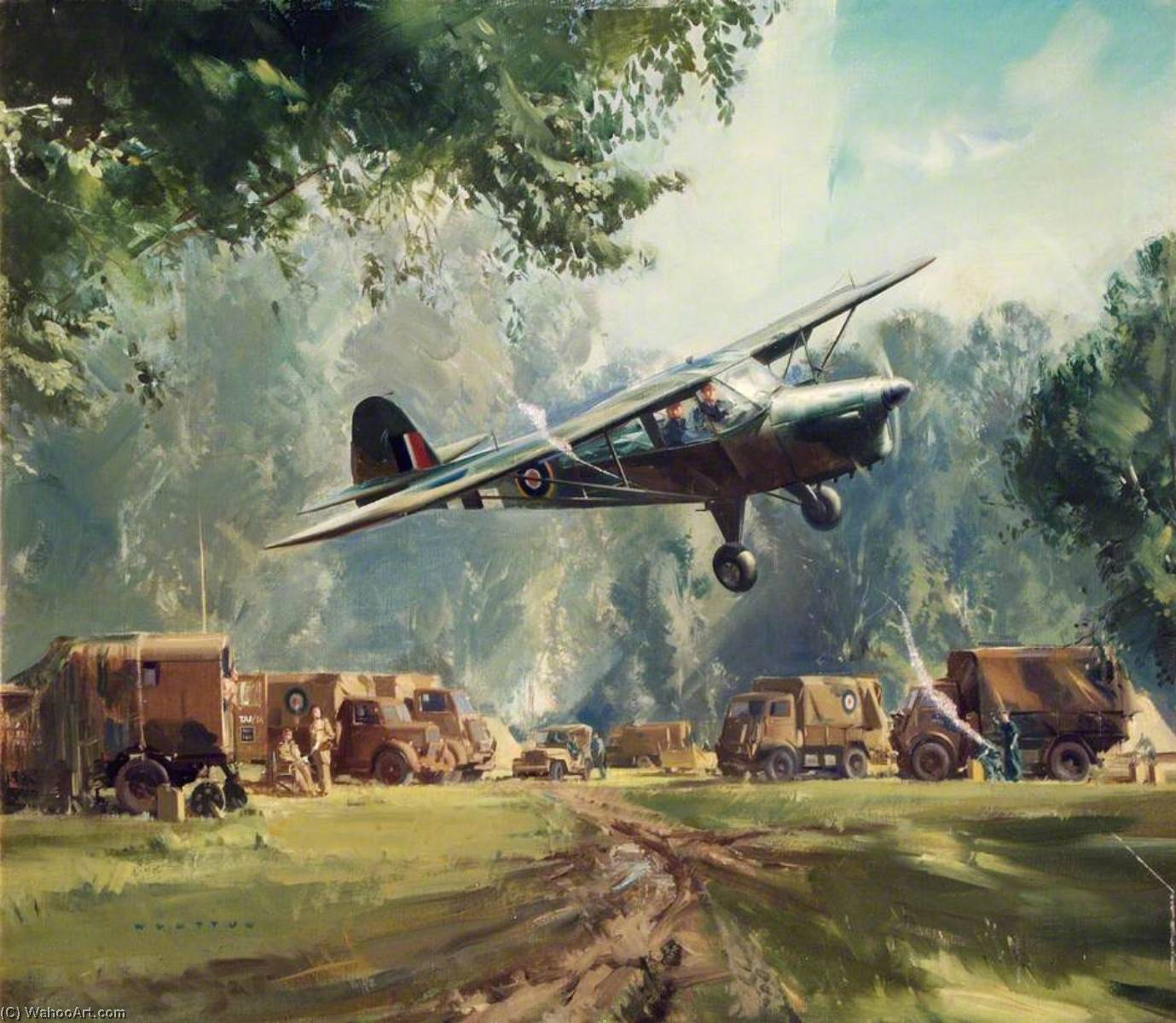 Auster over RAF Advanced Observation Post, France, 1944 by Frank Wootton | Museum Art Reproductions | ArtsDot.com