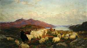 Henry William Banks Davis - Landscape with Cattle and..