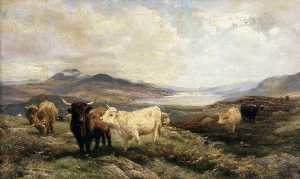 Henry William Banks Davis - Landscape with Cattle, Mo..