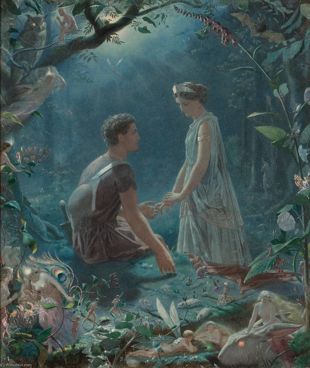 Hermia and Lysander, A Midsummer Night`s Dream by John Simmons (1823-1876) | Museum Art Reproductions | ArtsDot.com