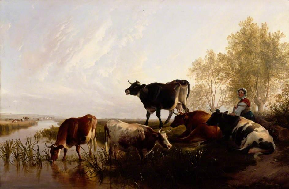 Milking Time in the Meadows, 1869 by Thomas Sidney Cooper (1803-1902, United Kingdom) | Museum Quality Reproductions | ArtsDot.com