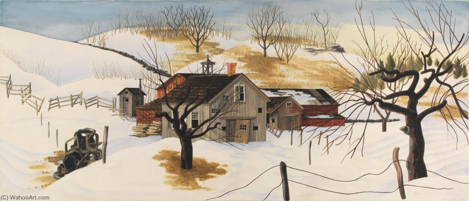 Beatty`s Barn (study for mural, Canonsburg, Pennsylvania Post Office), 1937 by Peter Blume (1906-1992, Belarus) | Museum Art Reproductions | ArtsDot.com