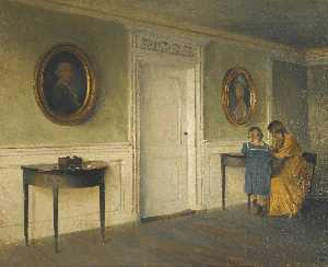 Peder Ilsted - The artist-s daughters in an Interior