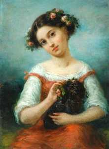 Pierre Joseph Dedreux Dor.. - Girl Crowned with Roses, ..