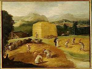 Niccolo Dell- Abate - Landscape with wheat threshers