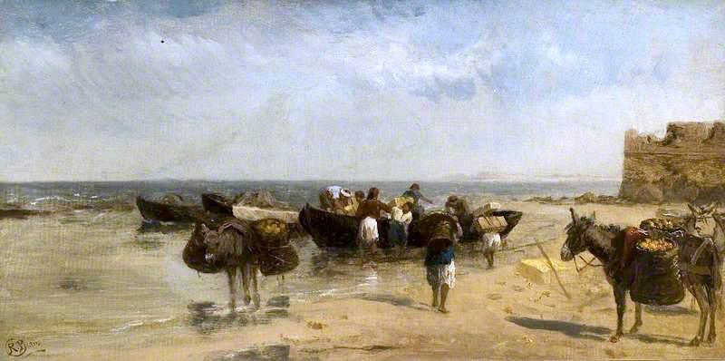 Fruit Boats on the Mediterranean by Richard Beavis | Museum Quality Reproductions | ArtsDot.com